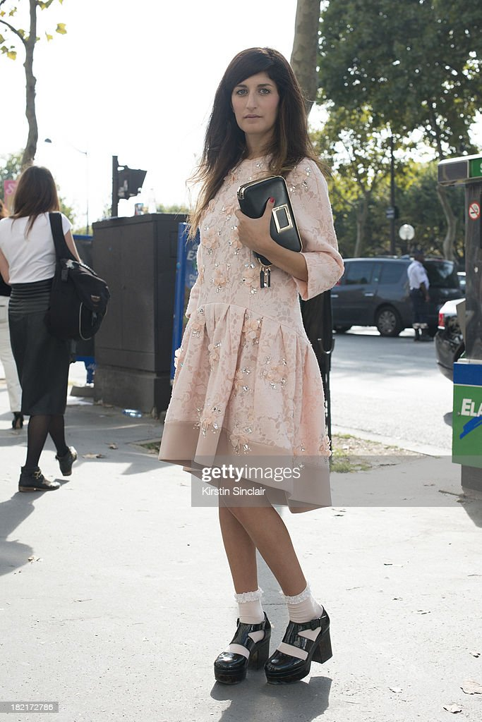 Fashion Blogger Valentina Seragosa wears Blu Marine dress, Asos shoes and a Roger Vivier bag on day 4 of Paris Fashion Week Spring/Summer 2014, Paris September 27, 2013 in Paris, France.