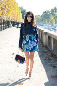 Fashion Blogger Valentina Serguso wears Roger Vivier shoes and bag Stella McCartney sunglasses and everything else Carven on day 3 during Paris...