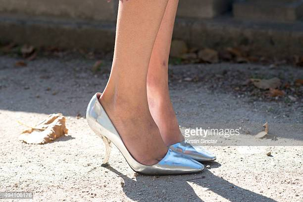 Fashion Blogger Valentina Serguso wears Roger Vivier shoes on day 3 during Paris Fashion Week Spring/Summer 2016/17 on October 1 2015 in London...