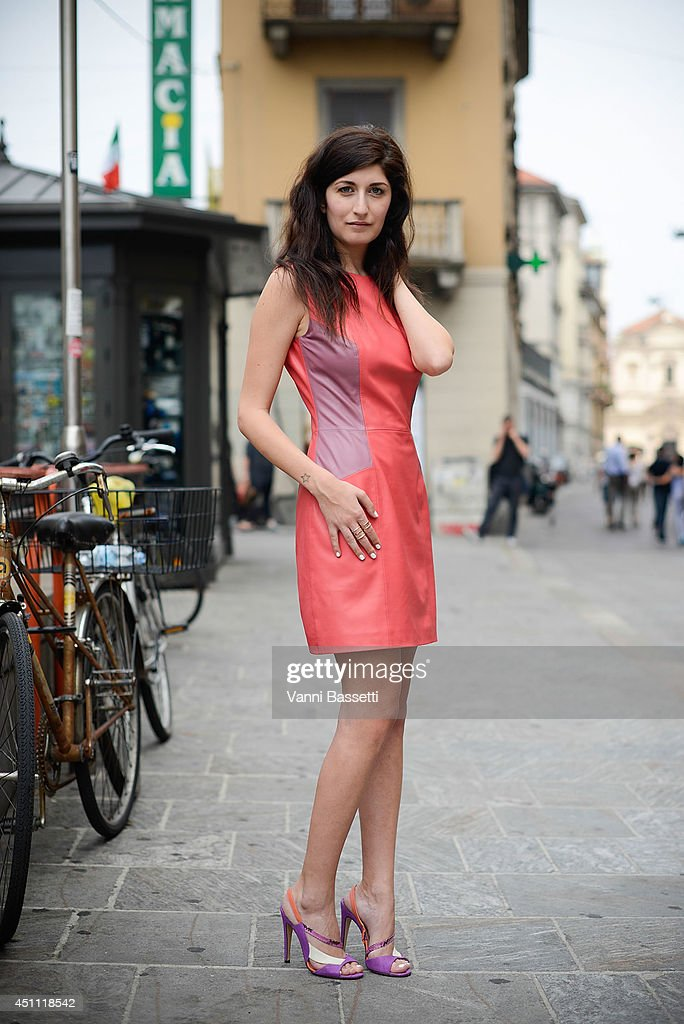 Fashion blogger Valentina Siragusa is seen wearing a 9A concept dress and Melis shoes after Gucci show on June 23, 2014 in Milan, Italy.