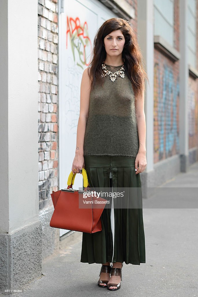 Fashion Blogger Valentina Siragusa is seen wearing a Fendi total look before Fendi show on June 23, 2014 in Milan, Italy.