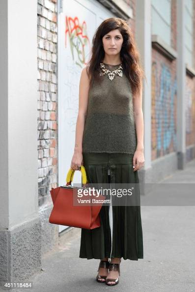 Fashion Blogger Valentina Siragusa is seen wearing a Fendi total look before Fendi show on June 23 2014 in Milan Italy