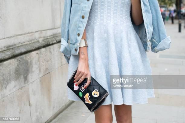 Fashion Blogger Valentina Siragusa is wearing an Asos dress America Apparel jacket and Stella MacCartney bag on day 3 of London Collections Women on...