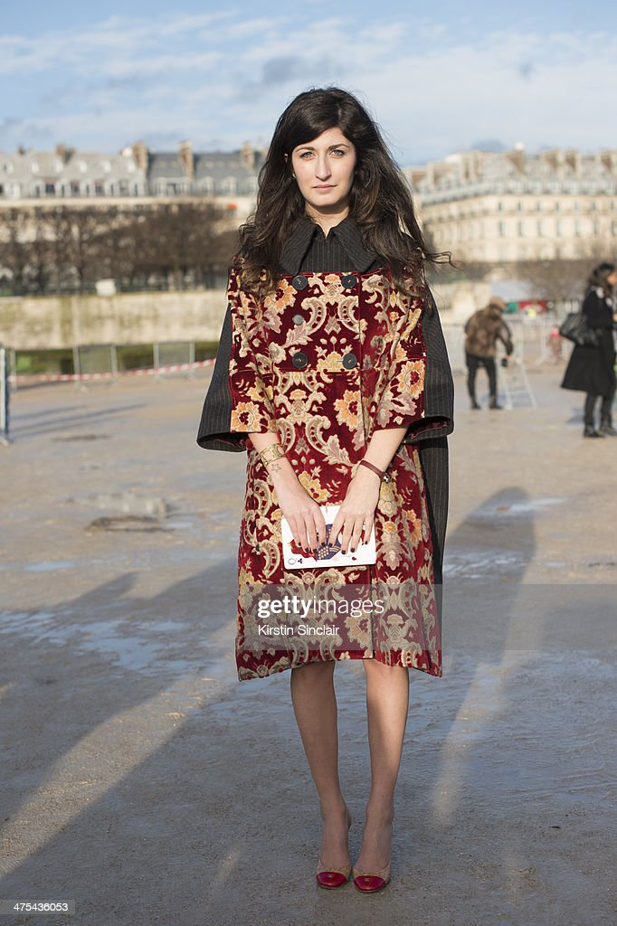 Fashion Blogger Valentina Siragusa wears an Antonio Marras jacket, Chanel shoes and Urania clutch bag on day 3 of Paris Collections: Women on February 27, 2014 in Paris, France.