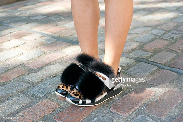 Fashion Blogger Yuyu wears Pierre Hardy shoes on day 3 during London Fashion Week Spring/Summer 2016/17 on September 20 2015 in London England