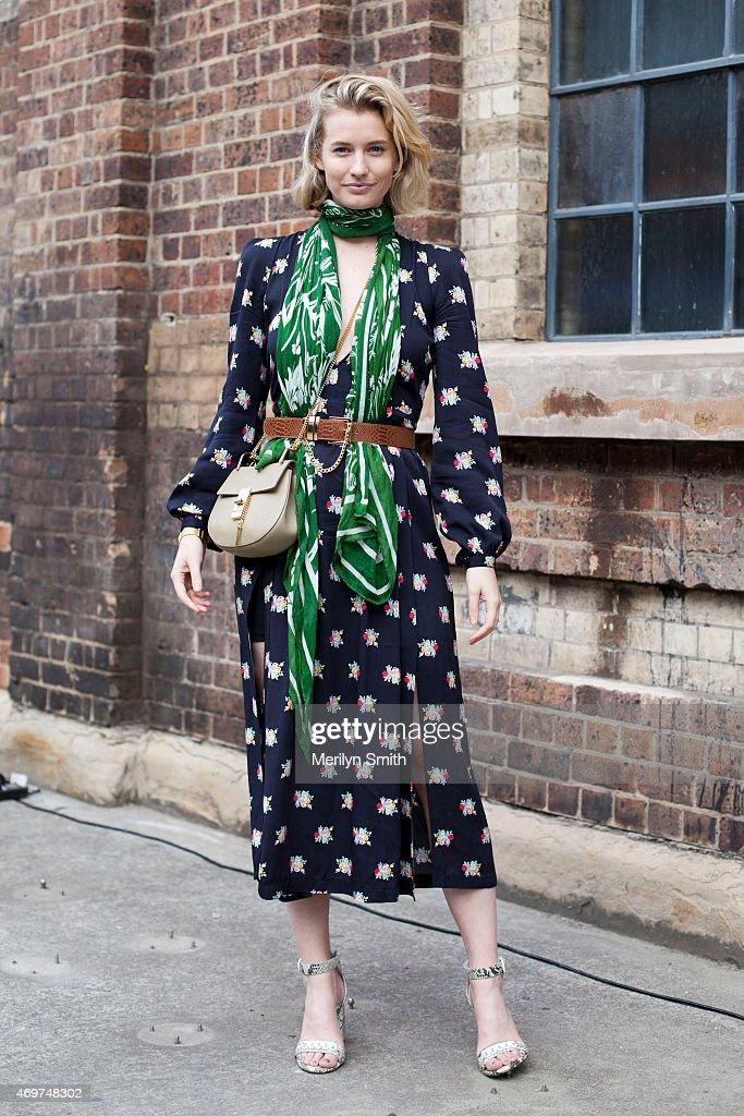 Fashion Blogger Zanita is wearing an Alice McCall dress Senso shoes Karen Walker sunglasses and Chloe handbag at MercedesBenz Fashion Week Australia...