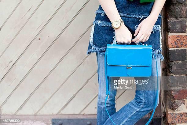 Fashion Blogger Zanita wears a Unkne top Ellery jacket and Karen Walker bag at MercedesBenz Fashion Week Australia 2015 at Carriageworks on April 12...