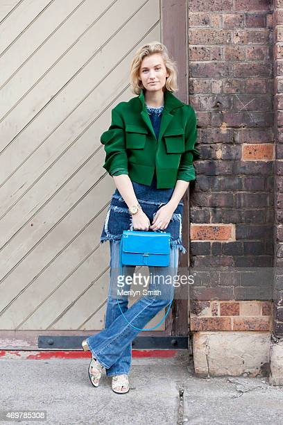 Fashion Blogger Zanita wears a Unkne top Ellery jacket Senso shoes and Karen Walker bag at MercedesBenz Fashion Week Australia 2015 at Carriageworks...
