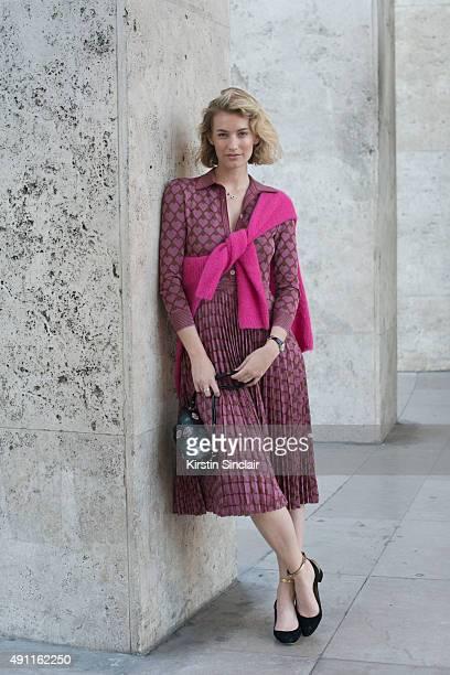 Fashion Blogger Zanita Whittington wears a Marni bag Sass and Bide sweater Gucci dress and Chloe shoes on day 2 during Paris Fashion Week...