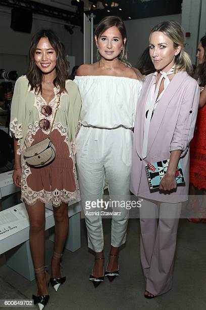 Fashion bloggers Aimee Song Danielle Bernstein and Jacey Duprie attend the Marissa Webb fashion show during New York Fashion Week at The Gallery...