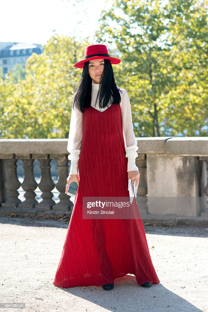 Fashion brand owner and social media influencer Yoyo Cao on day 3 during Paris Fashion Week Spring/Summer 2016/17 on October 1 2015 in London England