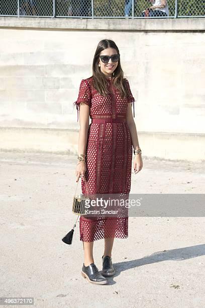 Fashion Buyer Amanda Cassou wears a Self Portrait dress Kotur bag Acne shoes Lool bracelet and Thierry Lasry sunglasses on day 5 during Paris Fashion...