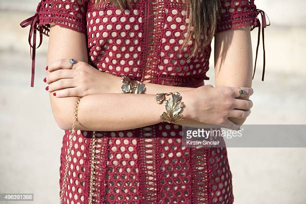 Fashion Buyer Amanda Cassou wears a Self Portrait dress Lool bracelet on day 5 during Paris Fashion Week Spring/Summer 2016/17 on October 3 2015 in...