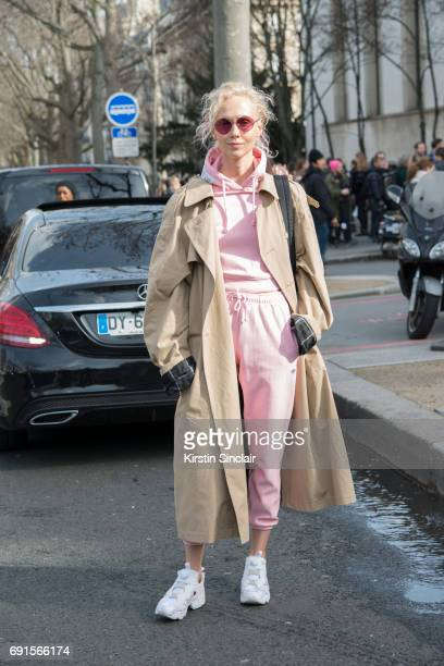 Fashion buyer and concept store owner Olga Karput wears all Vetements with Reebok trainers on day 3 during Paris Fashion Week Autumn/Winter 2017/18...