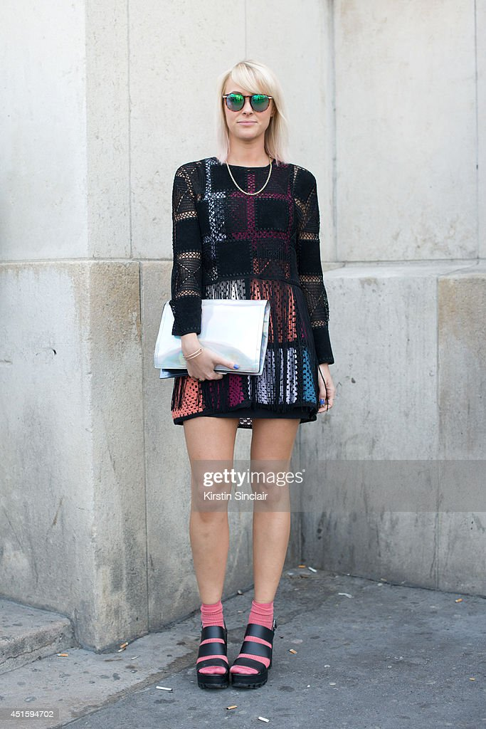 Fashion buyer for Harvey Nicholls Laura Robert Shaw wearing a Meadham Kirkoff dress, Topshop shoes and socks and Dries Von Noten bag on day 2 of Paris Collections: Men on June 26, 2014 in Paris, France.