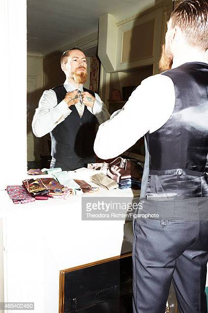 Fashion buyer for Mytheresacom Justin O'Shea is photographed for Madame Figaro on September 24 2014 in Paris France PUBLISHED IMAGE CREDIT MUST READ...