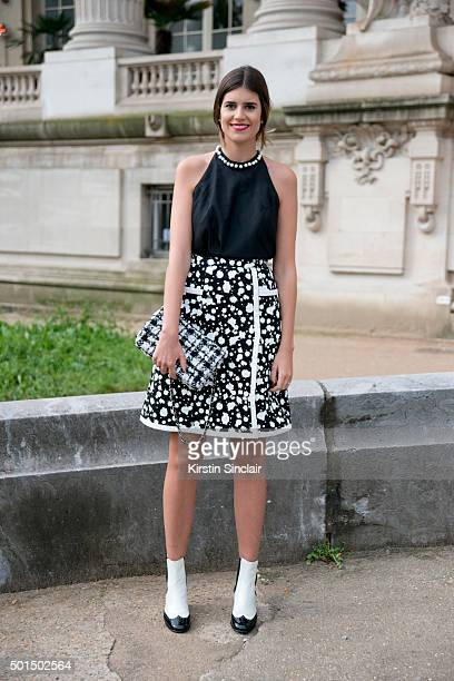 Fashion Buyer for The Gallerist Mariana Cassou wears a vintage top with a Chanel skirt bag and shoes on day 8 during Paris Fashion Week Spring/Summer...