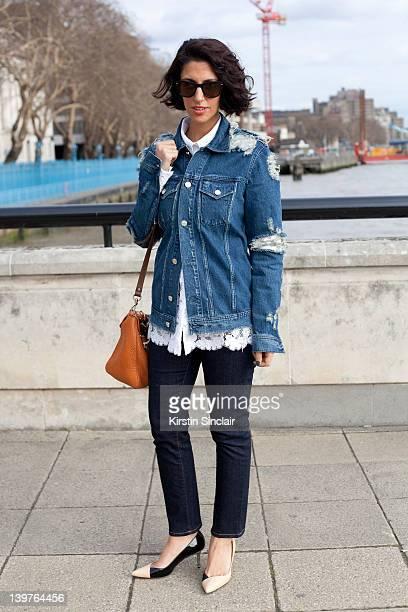 KINGDOM FEBRUARY 21 Fashion Buyer Yasmin Sewell wearing a Acne Jacket and shirt street style at London fashion week autumn/winter 2012 womenswear...