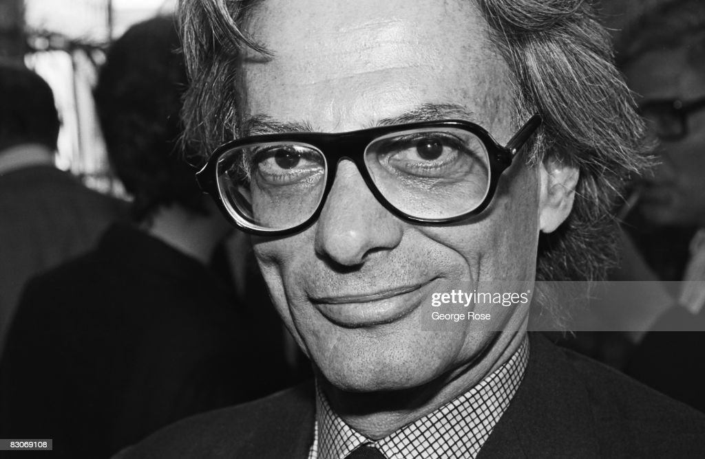Fashion celebrity and art photographer Richard Avedon poses on his way to a 1980 New York New York art opening