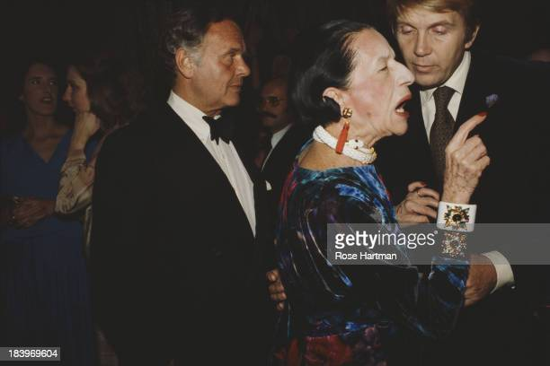 Fashion columnist and editor Diana Vreeland and American fashion designer Bill Blass at the Metropolitan Museum of Art New York City 1978