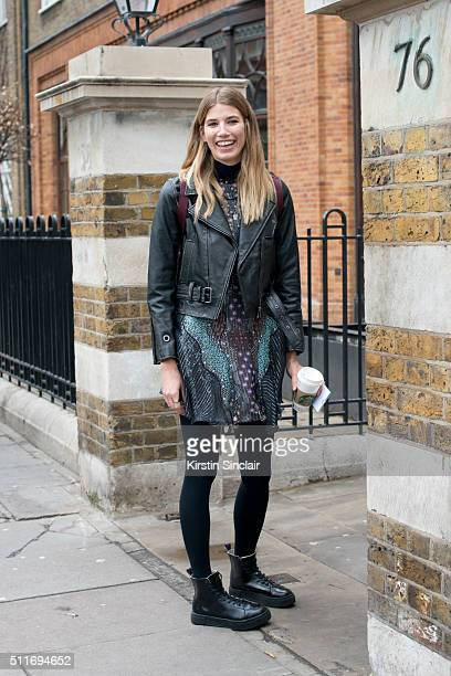 Fashion consultant and HeyWomancom founder Veronika Heilbrunner wears a Belstaff jacket and Mary Katrantzou dress on day 3 during London Fashion Week...