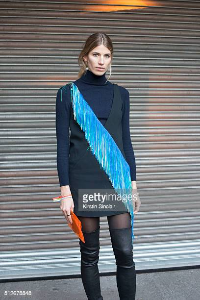 Fashion consultant and HeyWomancom founder Veronika Heilbrunner wears all Christopher Kane on day 4 during London Fashion Week Autumn/Winter 2016/17...