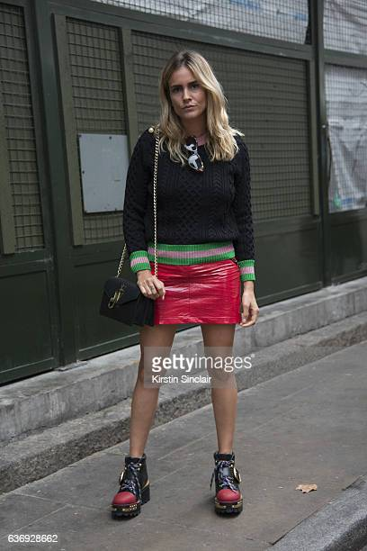 Fashion consultant Blanca Miro wears Gucci top and glasses Topshop skirt Prada shoes and JW Anderson bag on day 2 of London Womens Fashion Week...