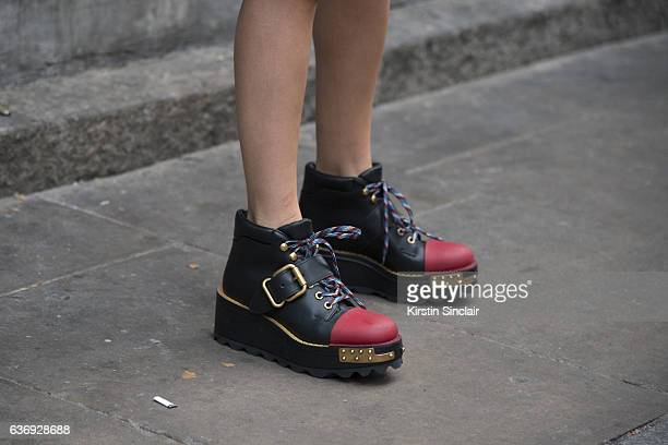 Fashion consultant Blanca Miro wears Prada shoes on day 2 of London Womens Fashion Week Spring/Summer 2016 on September 17 2016 in London England