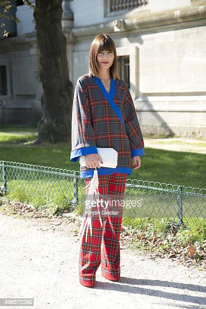 Fashion Consultant Daniela Zuccotti Ultra Chic top and shorts Maria La Mana handbag and Red Valentino shoes on day 5 during Paris Fashion Week...