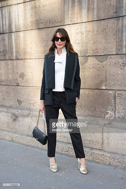 Fashion consultant Ece Sukan wears all Dice Kayak and Gucci shoes on day 2 of Paris Haute Couture Fashion Week Spring/Summer 2016 on January 25 2015...