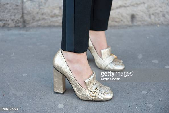 Fashion consultant Ece Sukan wears Dice Kay and Gucci shoes on day 2 of Paris Haute Couture Fashion Week Spring/Summer 2016 on January 25 2015 in...