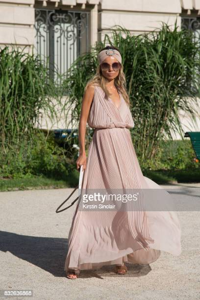 Fashion consultant Erica Pelosini Wears a Chloe dress and bag and a Alessandra Rich Turban day 2 of Paris Haute Couture Fashion Week Autumn/Winter...