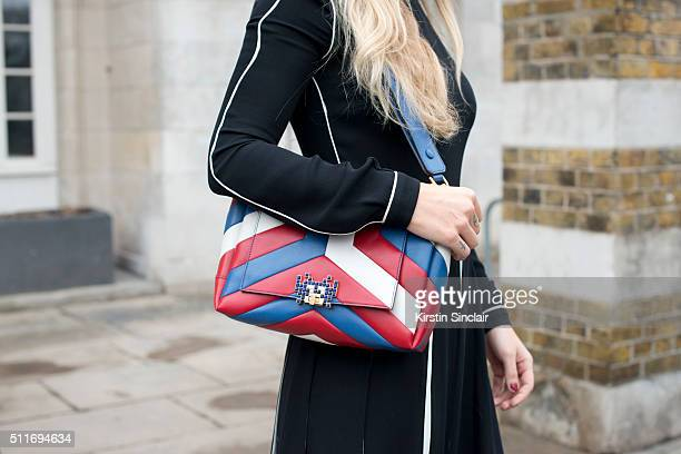 Fashion Consultant Kate Foley wears a Valentino dress and Anya Hindmarch bag on day 3 during London Fashion Week Autumn/Winter 2016/17 on February 21...