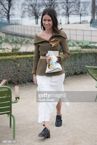 Fashion consultant Natasha Goldenberg wears a Loewe skirt and a Celine top on day 8 of Paris Collections Women on March 10 2015 in Paris France