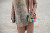Fashion Consultant Shiona Turini wears a Salvatore Ferragamo fur DKNY suit Margiela top Valentino bag on day 8 of Paris Collections Women on March 10...