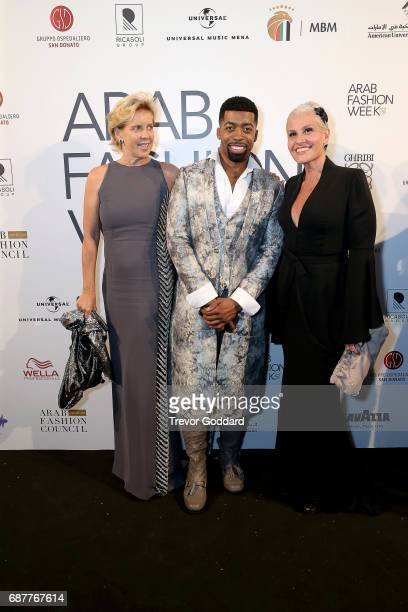Fashion Design Renoto Balestra Joey Harris and guest pose at Arab Fashion Week Ready Couture Resort 2018 Gala Dinner on May 202017 at Armani Hotel in...