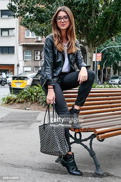 Fashion Design Student Paula is wearing a Zara jacket and pants an Alexander Wang shirt Top Shop boots a Goyard handbag and a Gucci glasses on...