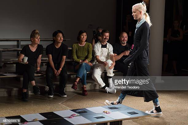 Fashion Designer Adam Selman watches a rehearsal of his show before the Adam Selman show at Milk Studios on September 10 2015 in New York City