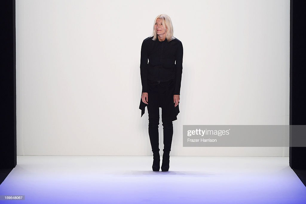 Fashion designer Adelina Ivan after her Autumn/Winter 2013/14 fashion show during Mercedes-Benz Fashion Week Berlin at Brandenburg Gate on January 15, 2013 in Berlin, Germany.