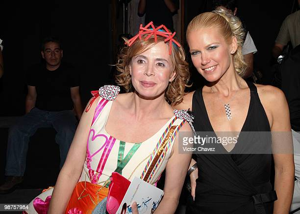 Fashion designer Agatha Ruiz De La Prada and model Valeria Mazza attend the Elle Mexico Disena 2010 at Museo Interactivo De Economia on April 28 2010...