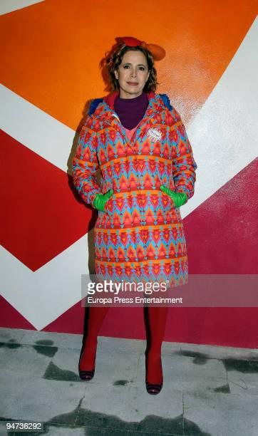 Fashion designer Agatha Ruiz de la Prada designs a Christmas wall for the Elipa neighborhood on December 17 2009 in Madrid Spain
