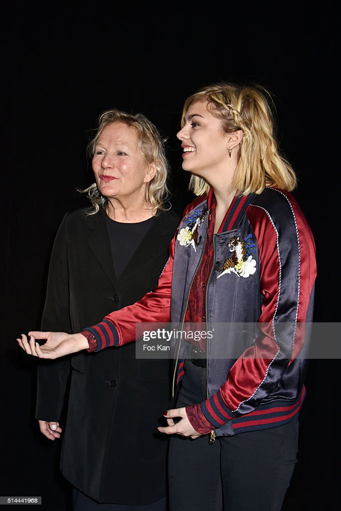 Fashion designer Agnes B and <a gi-track='captionPersonalityLinkClicked' href=/galleries/search?phrase=Louane+Emera&family=editorial&specificpeople=13718976 ng-click='$event.stopPropagation()'>Louane Emera</a> attend the Agnes B show as part of the Paris Fashion Week Womenswear Fall/Winter 2016/2017 on March 8, 2016 in Paris, France.