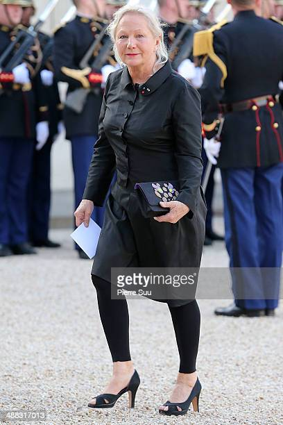 Fashion designer Agnes B attends the state Dinner At Elysee Palace In Honor Of Japanse Prime Minister Shinzo Abe on May 5 2014 in Paris France