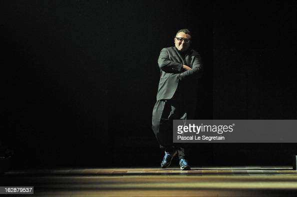 Fashion designer Alber Elbaz acknowledges applause following the Lanvin Fall/Winter 2013 ReadytoWear show as part of Paris Fashion Week on February...