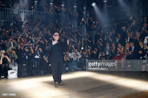 Fashion designer Alber Elbaz acknowledges the applause of the audience at the end of the Lanvin show as part of the Paris Fashion Week Womenswear...