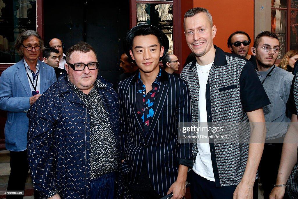 Fashion Designer Alber Elbaz, Actor Kai Zheng and Lanvin men fashion designer Lucas Ossendrijver pose after the Lanvin Menswear Spring/Summer 2016 show as part of Paris Fashion Week. Held at 'Ecole Nationale Superieure des Beaux Arts' on June 28, 2015 in Paris, France.