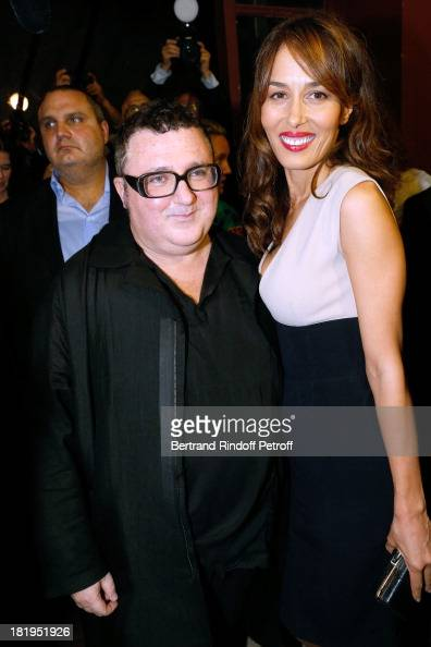 Fashion Designer Alber Elbaz and Dolores Chaplin after Lanvin show as part of the Paris Fashion Week Womenswear Spring/Summer 2014 held at 'Ecole des...