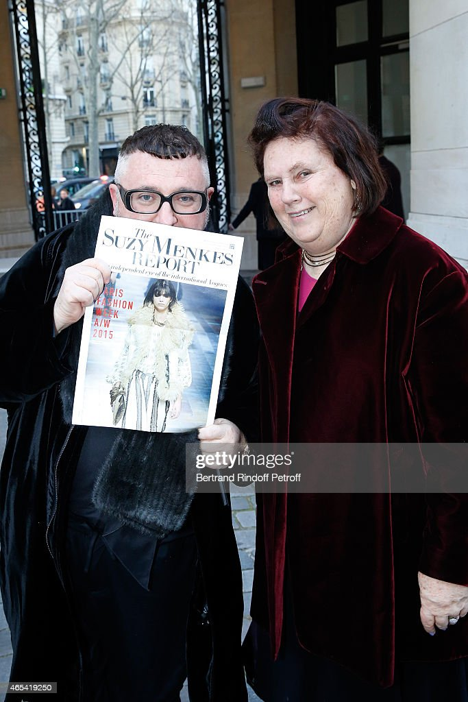 Fashion Designer Alber Elbaz and journalist Suzy Menkes attend the Jeanne Lanvin Retrospective : Opening Ceremony at Palais Galliera on March 6, 2015 in Paris, France.