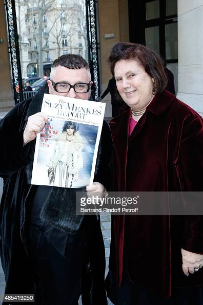 Fashion Designer Alber Elbaz and journalist Suzy Menkes attend the Jeanne Lanvin Retrospective Opening Ceremony at Palais Galliera on March 6 2015 in...