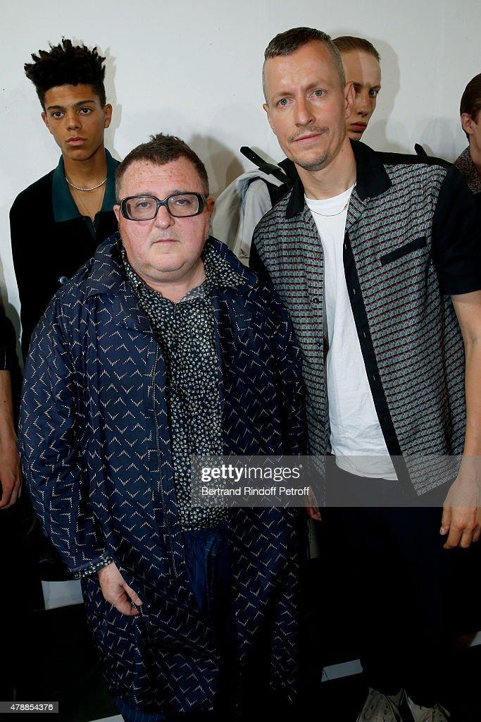 Fashion Designer Alber Elbaz and Lanvin men fashion designer Lucas Ossendrijver pose Backstage prior the Lanvin Menswear Spring/Summer 2016 show as part of Paris Fashion Week. Held at 'Ecole Nationale Superieure des Beaux Arts' on June 28, 2015 in Paris, France.